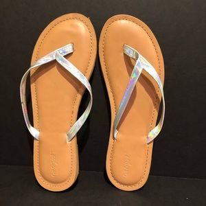 Cat & Jack iridescent flip flops 2 3 girls